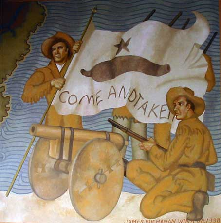 "Texas pioneers with ""Come and Take It"" flag"